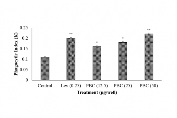 Phagocytic index was calculated in murine macrophage induced by different concentration of PBC PBC (12.5, 25 and 50 μg/well)