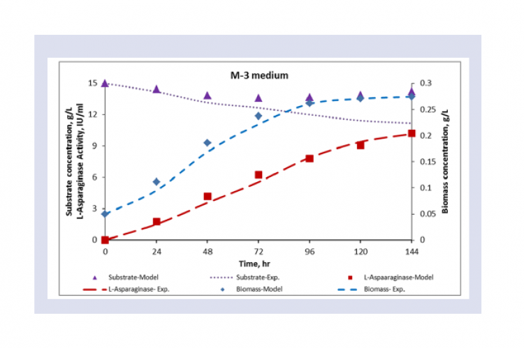 Experimental and model predicted kinetics of biomass growth, substrate utilization and L-Asparaginase activity using M-3 medium.