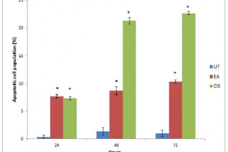 Frequency of apoptotic cell population after treatment with EAQI (EA) and cisplatin (CIS) at 24, 48 and 72 hours of treatment. Values are mean ± S.E.M (n=3). Asterisk (*) indicates a significant value (p<0.05) as compared with untreated group (UT)