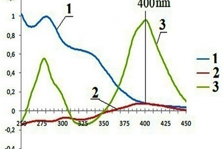 UV - spectrum of 70% ethanol extract (1) and differential spectra of herbal formulation (2) and luteolin (3) with the addition of a 3% solution of aluminum chloride in ethanol.