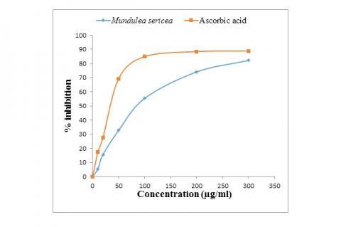 DPPH scavenging activity of aqueous-methanolic leaf extract of M. sericea