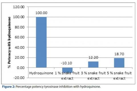 Percentage potency tyrosinase inhibition with hydroquinone