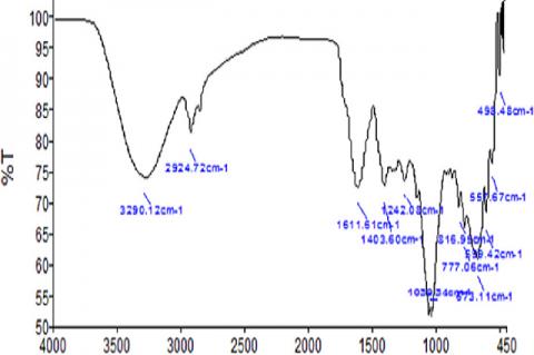FT-IR spectrum for organic treated tomato powder
