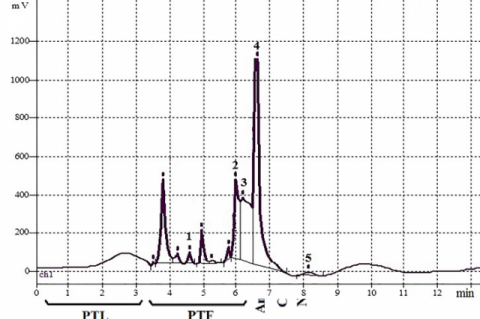 HPLC-UV chromatogram of S. canadensis: 1. Quinic acid; 2. Cichoric acid; 3. Chlorogenic acid; 4. Caffeic acid; 5. Ferulic acid